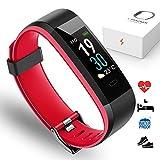 PORTHOLIC Pulsera Actividad, Pulsera de Actividad Inteligente Impermeable IP68 Pantalla Color Reloj con Pulsómetro Monitor Ritmo Cardíaco,Sueño,Podómetro,Reloj Inteligente para Mujer Hombre