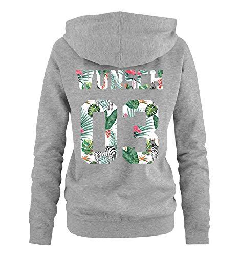 Comedy Shirts - Wunsch - Damen Hoodie - Grau/Exotisch - Gr. XXL (Bart Der Katze)