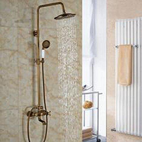 Luxurious shower Luxus neues Bad Surface Mount Messing Regendusche Wasserhahn Set Messing antik Wanne mit Handdusche + Auswurfkrümmer, B -