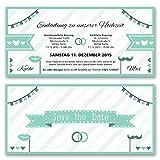 (40 x) Hochzeitseinladungen Mint Party Edel Gold Ticket Einladungskarten Hochzeit