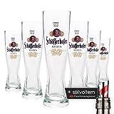 6 x Schöfferhofer 0,3l Glas / Gläser, spritzig obergärig, oranges Logo, Bierglas + Flaschenausgiesser