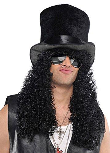 Achtzigerjahre Slash Style Curly Black Perücke mit Hut