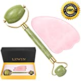 Masajeador antienvejecimiento Jade Roller Massager & Gua Sha Rose Quartz Raspado Herramientas de masaje Caja de regalo Guía de instrucciones Incluido