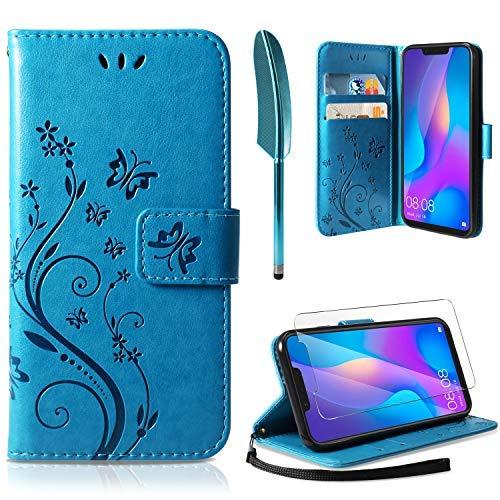 AROYI Lederhülle Huawei P Smart 2019 Flip Hülle, Honor 10 Lite/P Smart 2019 Wallet Case Handyhülle PU Leder Tasche Case Ständer Hülle Schutzhülle für Huawei P Smart 2019/Honor 10 Lite Blau