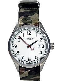Timex–t2N222d–Originals–Armbanduhr–Quarz Analog–Weißes Ziffernblatt–Armband Nylon beige