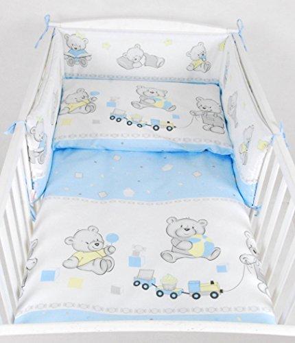 BABYLUX NESTCHEN Bettumrandung mit Kopfschutz 210 x 30 cm (70. Bär Cookie Blau) (Baby Bettwäsche Zubehör)