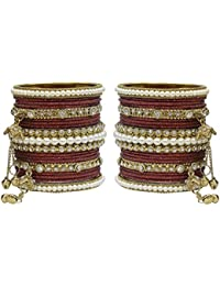 Much More Elegant Maroon Latakhan Bangles Set With Pearl Stone