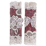 Kingus 1 Paar Exquisite Blumenspitze Kühlschrank Türgriff Handschuhe Kühlschrank Griff Abdeckung Geschirrspüler Protector Decor, weinrot kurz