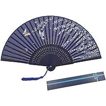 abanico de KAKOO de patrón del cerezo de color azul profundo del estilo japón para bailar o Lave tres ceremonias, la boda, la decoración de la pared de la casa