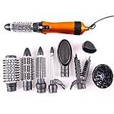 Multifonctionnel Défrisant et Bouclant Sèche-Cheveux Professionnel Peigne à Air Chaud Ensemble de 10 en 1 Sèche-Cheveux Peignes Kit,Orange