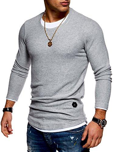 MT Styles Herren 2in1 Oversize Pullover Hoodie MT-7323 Grau