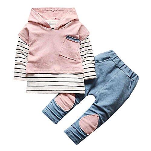 Kinder Kleidung set 3pcs,Tonsee Jungen Mädchen Niedlich Langarm Stripe T-shirt+Hoodie Einfarbig Bluse Tops mit Taschen+Patchwork Hosen Baumwollmischung Outfits Set (Rosa, 100(18-24M)) (Baumwollmischung Hosen)