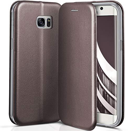 ONEFLOW Samsung Galaxy S7 Edge | Hülle Anthrazit-Grau mit Karten-Fach 360° Business Klapp-Hülle Handytasche Kunst-Leder Handyhülle für Samsung Galaxy S7 Edge Flip Case Cover Tasche Schutzhülle