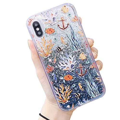 iPhone 8 Plus Glitzer Hülle, Edaroo Ozean Meer Koralle Fisch Muster Süße Flüssig Handyhülle Flüssigkeit Glitter durchsichtig Hart Lustig 3D Bling Cute Schutzhülle für iPhone 7 Plus/iPhone 8 Plus Disney Iphone