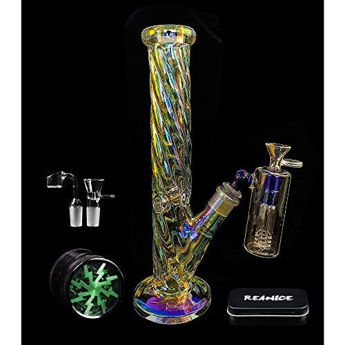 REANICE Glasbong Räuchern Bong 14.4mm Hoch 30cm Wasser Percolator Wasserpfeife Chillum Bubblers - Bubbler Für Tabak Wasser-pfeife