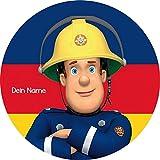 Tortenaufleger Feuerwehrmann Sam1 mit Wunschtext/20 cm Ø