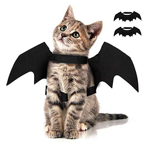 MTHDD Halloween Haustier Fledermaus Kostüm Flügel Kürbis Glocken Hund Katze Cosplay Kostüm für Halloween Haustier Bekleidung Kostüm Zubehör,1XBatwing