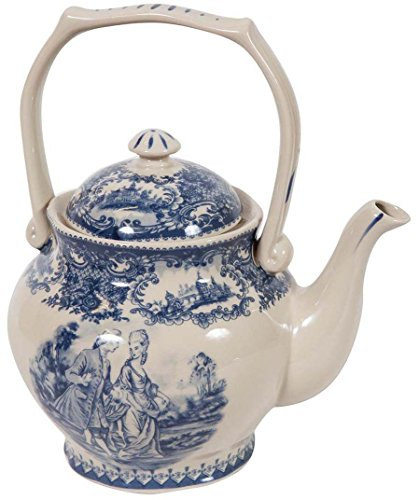 Teiera in stile inglese L17xPR11xH20 cm in ceramica decorata bianca e blu