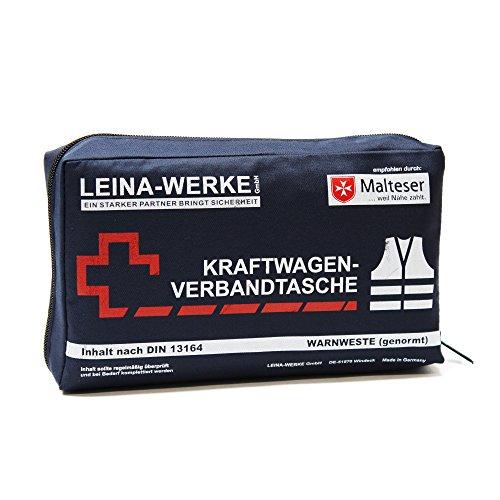 Leina-Werke 11029 KFZ-Verbandtasche Compact mit Warnweste und Klett, Blau/Weiß/Rot