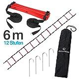 #DoYourFitness® Koordinationsleiter/Fitnessleiter - Länge 4m 6m 8m - Trainingsleiter (ENGL Agility Ladder) BZW. Konditionsleiter für Beweglichkeitsübungen/Schnelligkeitstraining 6m rot/schwarz