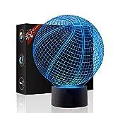 Basketball Geschenk Nachtlicht 3D neben Tischlampe Illusion, Jawell 7 Farben ändern Touch Switch Schreibtisch Dekoration Lampen Geburtstag Weihnachtsgeschenk mit Acryl Flat & ABS Base & USB Kabel