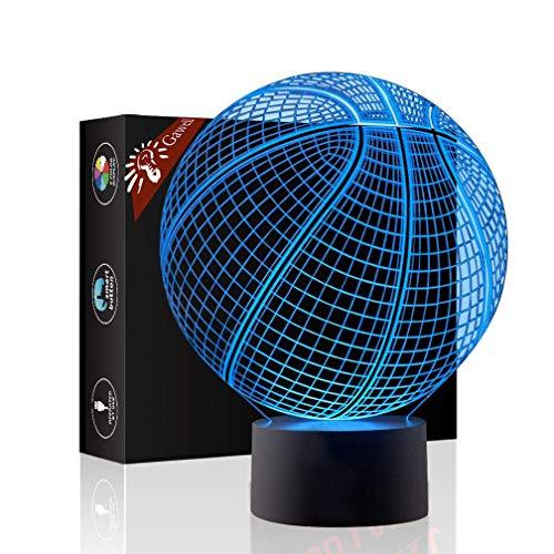 Pallacanestro Regalo di compleanno 3D Illusion Night Light Accanto da tavolo, Jawell 7 Cambia colore Touch Switch Decorazione Lampade Baby Gift con acrilico Flat & Base ABS e cavo USB Theme Toy