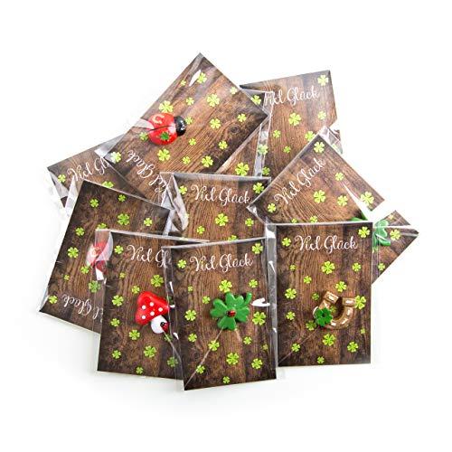 20 kleine Mini-Geschenke KLEEBLATT Glückspilz HUFEISEN mit Karte VIEL GLÜCK verpackt - Glücksbringer give-away Gastgeschenk Mitgebsel Neujahr Weihnachten
