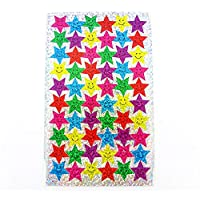 Arts & Crafts Smiley Star Stickers for Card Decorating, Scrap booking, School Classroom supplies etc - 6 Different Colours Including Pink, Blue, Green, Red Yellow and Purple (1 Pack - 240 Stickers)