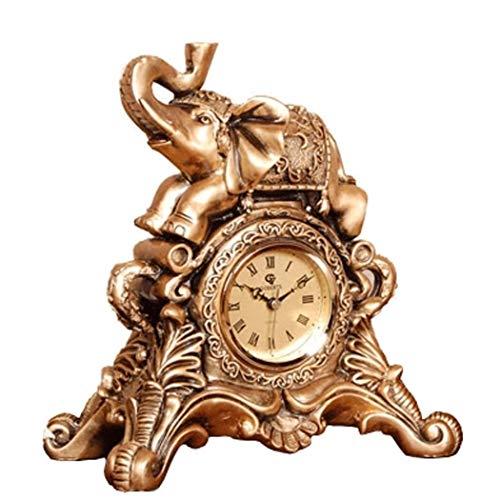 AXIANQI Springende Sekundenbewegung Europäische Harzuhr-Luxustischuhr Der Glücklichen Elefantausgangsdekoration Wohnzimmerschlafzimmerschlafzimmerstille Stille Retro-Uhr A (größe : 26 * 16 * 29cm)