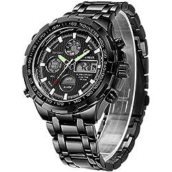 Montre analogique à quartz - Pour homme - Chronographe, grand cadran, étanche, acier inoxydable, noir