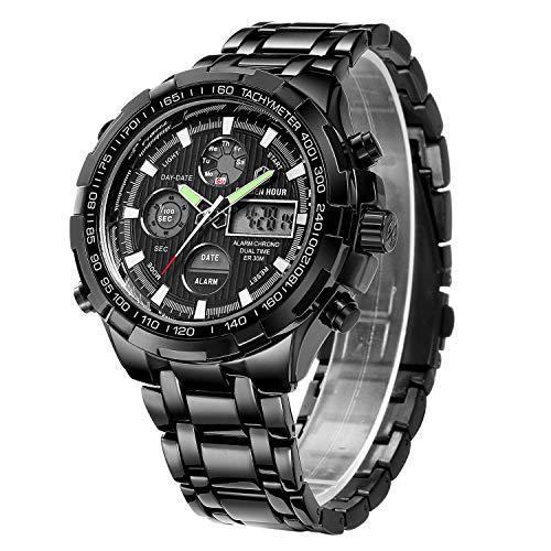 Orologio sportivo digitale al quarzo, analogico, da uomo, cronografo con grande quadrante, in acciaio inox, orologio da polso impermeabile, nero