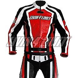 4LIMIT Sports 200100000304 Traje para Moto de Cuero, Rojo/Negro/Blanco, M