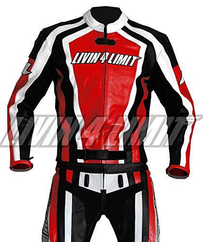 4LIMIT Sports Motorrad Lederkombi LAGUNA SECA Zweiteiler, Rot-Schwarz-Weiß, Größe L -