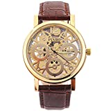WANGSCANIS® 2016 NEW RELEASE Men's Skeleton Dial Leather Strap Luxury Self-Wind Up Mechanical Automatic Steampunk Watch (Brown&Gold)