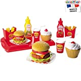 Unbekannt Hamburger Spielset mit 25 Zubehörteilen und Tablett: Spielzeug Hamburger Pommes Kinderküche Zubehör Kaufmannsladen Kaufladenzubehör