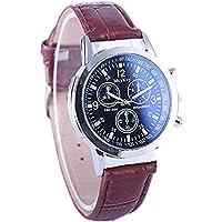 Logobeing Reloj de Pulsera Mujer Hombre Relojes de Pulsera de Cuero Banda Análoga de Cuarzo Simples Ocasionales Elegante Barato de Moda (Marrón-a)