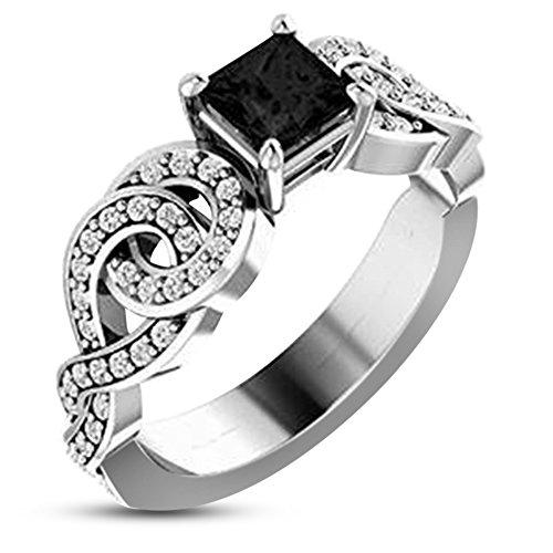 Vorra Fashion  -  925 Sterling-Silber  Sterling-Silber 925 Prinzess   weiß schwarz Oxyde de Zirconium