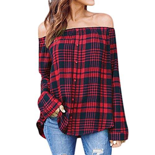 QinMM Camiseta de Manga Larga Para Mujer, Camisa atractiva cuadros escocesas del hombro Tops blusa (Rojo, L)
