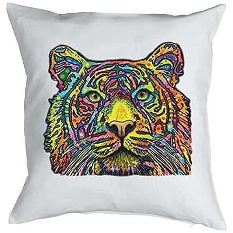 Color Zierkissen Neon Tiger Sofakissen Geschenk Kissen 40 x 40 cm geil bedruckt