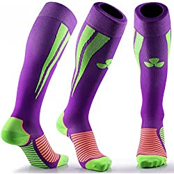 Samson Calcetines de compresión, para deportes, para fútbol, entrenamiento, running, deporte, gimnasio, hombres, mujeres, Unisex, hombre mujer Infantil, Purple Green, mediano