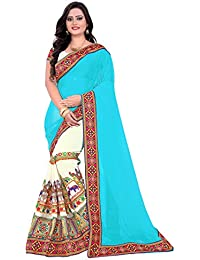 Riva Enterprise Women's Embroidred Sky Blue And Off White Color Saree With Blouse (riva_99)