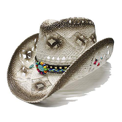 Sombrero de Paja para Hombres Sun Beach Cowboy Sombrero para Mujeres Sun Cowboy Western Hat Estilo étnico Turquesa Signo de la Paz Dados Cinturón de Cuero Sombrero (Color : 1, tamaño : 56-58CM)