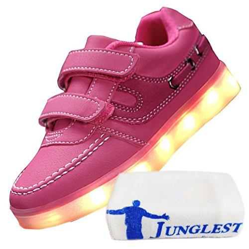 [Présents:petite serviette]JUNGLEST® Kid Garçon Fille de recharge USB LED Light Up Sport Chaussures de course Clignotant Snea Rose