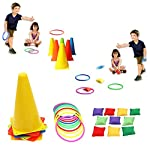 OurWarm 3 in 1 Ring Toss Game Set Soft Traffic Cone Bean Bags for Throwing, 26pcs Puzzle Carnival Garden Backyard… 10