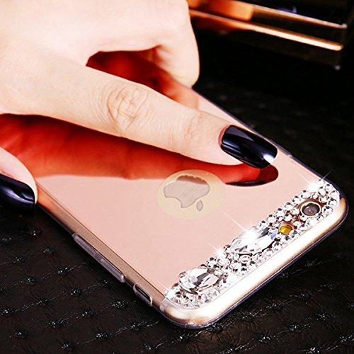 iPhone 6s Hülle Glitzer,Bling Hülle Case für iPhone 6,Ekakashop Luxus Strassspiegel Champagner Funkelnsternen Sparkle TPU Silikon Defender Protective Schutzhülle Rückseite Schale Praktisch Back Case C Strassspiegel Rose Gold