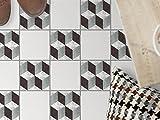 Fliesen-Bodendeko, Küchenfliesen | Bodenfliesen Sticker Aufkleber Folie Bad Küche Fussboden Fliesenmuster Badezimmer-Deko | 10x10 cm Muster Ornament 3D Marmor Cubes - 9 Stück