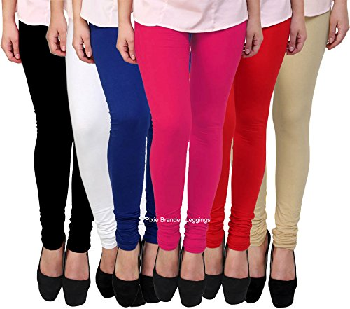 Pixie Women\'s Cotton Lycra Leggings, Free Size (Black, White, Pink, Blue, Red and Beige, P160CLCOMBO6-5) - Set of 6