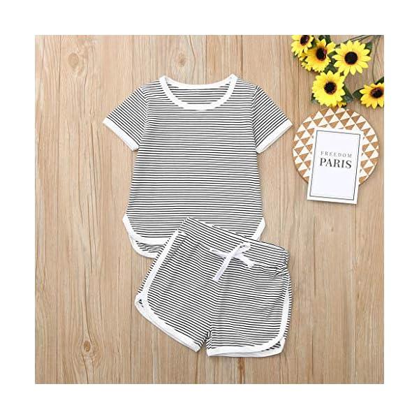 Trisee Verano recién Nacido para Mono de bebé para niñas de Romper Raya algodón Blusa y Pantalones Cortos 2pcs Conjunto… 3