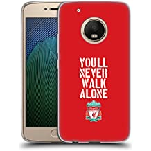 Official Liverpool Football Club Stencil Red Crest You'll Never Walk Alone Soft Gel Case for Motorola Moto G5 Plus