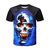 Kanpola T-Shirt Herren Sommer O-Neck Kurzarm 3D Printing Schwarz Adler Totenkopf Slim Fit Shirts Tops